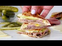 5 GRN PT I made my favorite Cuban sandwich into a quesadilla filled with roast pork (pernil), ham, Swiss cheese, pickles, and mustard! Ww Recipes, Pork Recipes, Slow Cooker Recipes, Gourmet Recipes, Mexican Food Recipes, Low Carb Recipes, Crockpot Recipes, Cooking Recipes, Skinnytaste Recipes