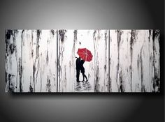 Art original Abstract painting 20 inches X 48 inches  ----- Tighter-------Textured---3 pc Custom Huge Jmjartstudio usd299