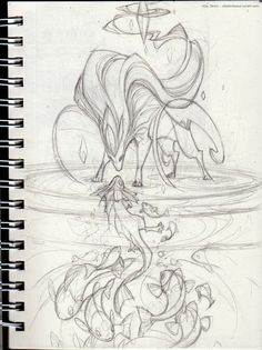 Sketch for a Suicune piece! Still feelin' the pokeman's. And damn if I don't love the purple-haired pony wolf.
