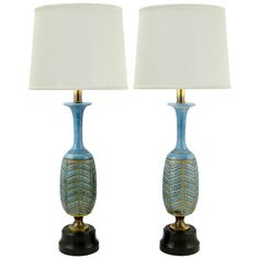 Pair Rembrandt Cerulean Blue Pottery & Brass Table Lamps  Love these but 38.5 inches tall