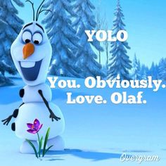YOLO... What does that stand for??? You obviously love Olaf!!!! LOL