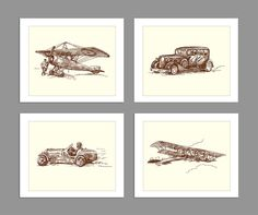 Digital Download Set of 4 Old Fashioned Car Biplane Race Car Airplane Art Print Boys Rooms Office