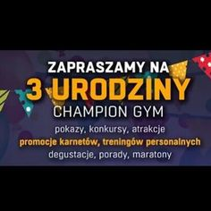 #ChampionGym #JUZ #DZIŚ #3urodziny #zapraszamy ❤ #fitness #fit #sport #birthday #party Champion, Gym, Sport, Birthday, Fitness, Instagram Posts, Deporte, Birthdays, Sports