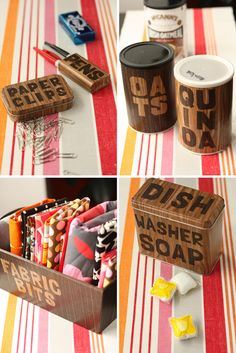 DIY: Dress up tin containers with woodgrain shelf paper