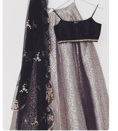 Gray Brocade Lehenga Blouse Indian Dresses Shop Online - April 20 2019 at Brocade Lehenga, Indian Lehenga, Lehenga Choli, Lehenga Blouse, Black Lehenga, Sabyasachi, Indian Attire, Indian Outfits, Indian Wear