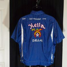 Bowling Shirt Vintage Hella Shriner Dallas Texas 1974 Embroidered Mens Club Scimitar Sword Logo Rockabilly Navy Blue Large. $88.00, via Etsy.