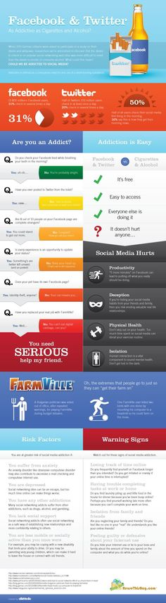 Facebook & Twitter as addictive as cigarettes and alcohol? #infographic