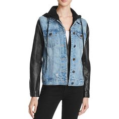 Blanknyc Faux Leather Sleeve Denim Jacket - 100% Bloomingdale's... ($115) ❤ liked on Polyvore featuring outerwear, jackets, ripped off, blue jean jacket, blanknyc, denim jacket, faux leather sleeve denim jacket and distressed jean jacket