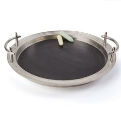 Round Brushed Silver Tray