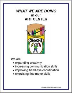 What We Are Doing Sign: Art Center | abcteach