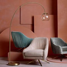 Overarching Floor Lamp, Brass Floor Lamp, Modern Floor Lamps, Pink Floor Lamp, Cool Floor Lamps, Room Lamp, Coffee Table Design, Coffee Tables, My New Room