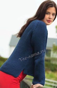 Синий пуловер с полупатентным узором 100г/280м