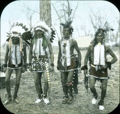 L-R: Max Big Man, unknown, Russell White Bear, unknown - Crow - circa 1910