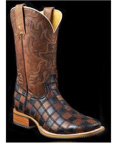 Tin Haul Checkerboard King Cowboy Boots - Square Toe