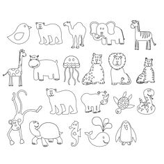 Animal Outlines For Kids Room Embroidery Idea