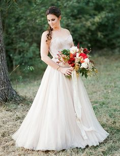 love this blush BHLDN wedding dress