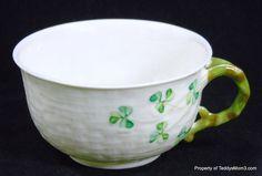 Pretty little tea cup from Ireland!  Belleek Shamrock Fine China Cup Basket Weave Green 6th Mark 1965-1979 Ireland #Belleek, #BelleekShamrock