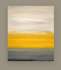 "Acrylic Abstract Painting Original Art on Canvas Titled: Sunny Disposition 30x36x1.5"" by Ora Birenbaum"