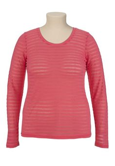 Long Sleeve Striped Burnout Tee - maurices.com