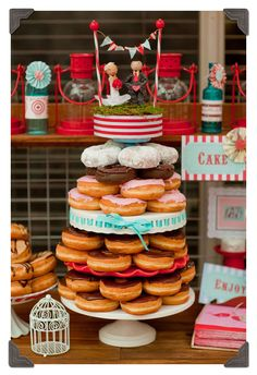 Donut buffet is a good idea, but maybe with donut holes instead and mini donuts, all diff kinds..cute!