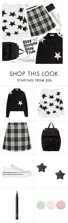 """stay simple stay true"" by valentino-lover ❤ liked on Polyvore featuring Alice + Olivia, River Island, Mansur Gavriel, Converse, Astley Clarke, NARS Cosmetics, BOBBY, Nails Inc. and Acne Studios"