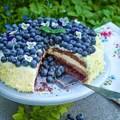 En sagolik tårta. Härligt syrlig och somrig med smak av både blåbär och vit choklad. Easy Birthday Desserts, Easy Desserts, Delicious Desserts, Candy Recipes, Baking Recipes, Dessert Recipes, Bagan, Grandma Cookies, Homemade Pastries