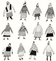 PLaY THe DRuMS / ORIGINAL ILLUSTRATION / Grandmothers / Pattern / black and white / Character design / Crowed / Funny: