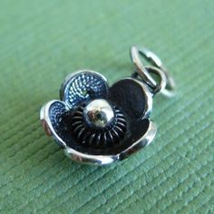 Sterling Silver Antiqued Filigree Flower Charm by Orodoro on Etsy