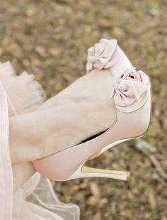 Blush Pink Heels|Rustic & Shabby Chic Valentines Wedding Inspiration| Photographer: Andie Freeman Photography