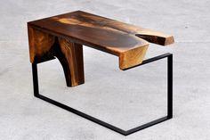 Walnut Metal Side Table