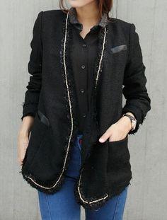 black + fringed trim blazer.