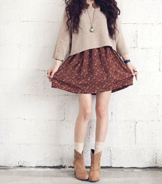 So cute #fashion #trends That necklace is so sweet with it...I like bulky jumpers and skirts. That pair of suede boots are adorable too.