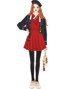 대례복 문양이 예뻐서 그려봤어요#한복#그림#drawing#illustration#イラスト#일러스트#fashion Fashion Art, Girl Fashion, Fashion Dresses, Womens Fashion, Fashion Design, Korean Traditional Dress, Traditional Outfits, Modern Hanbok, Flat Drawings
