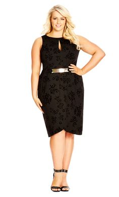 City Chic Flocked Rose Dress - Women's Plus Size Fashion City Chic - City Chic Your Leading Plus Size Fashion Destination #citychic #citychiconline #newarrivals #plussize #plusfashion