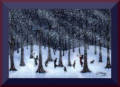 Just Stay Together  A tiny Winter Snow Storm Woods Print by Deborah Gregg