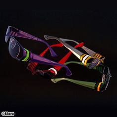 Evangelion Sunglasses TYPE-EVA [γ] are part of a series of sunglasses themed after EVA Units from Evangelion: 2.0 You Can (Not) Advance. Each unit's exterior is beautifully represented with titanium and acrylic.  The glasses come in five color variations: - Eva Unit-1 has a purple base and green design. - Eva Unit-0 has a yellow base and white design. - Eva Unit-2 has a red base and white desi...