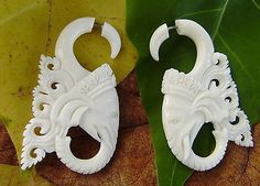 Organic White Bone  Fake Gauges Good luck elephants  Split expanders earrings