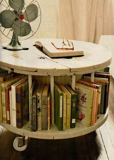 recycled spool table for the guest room