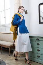 Christophe Lemaire: mustard, blue and white