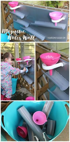 DIY Magnetic Water Wall – Play at Home Teacher - Messy play - Kids Outdoor Play, Outdoor Play Spaces, Outdoor Playground, Backyard For Kids, Backyard Games, Outdoor Games, Water Games For Kids, Activities For Kids, Indoor Activities