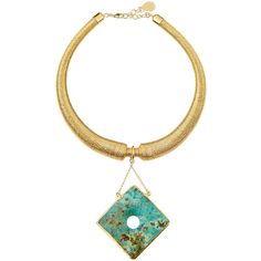 Devon Leigh Gold-Dipped Mesh Collar Necklace w/ African Turquoise... ($238) ❤ liked on Polyvore featuring jewelry, necklaces and turquoise