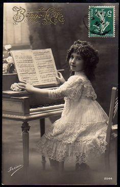 sweet girl on vintage postcard...