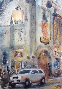 "Hollywood Blvd. Watercolor Painting Original 7"" X 5""  Small Artwork NOT A PRINT  | eBay"