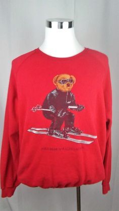Ralph Lauren Polo Skiing Bear Crew Neck Sweatshirt Large #PoloRalphLauren #Crewneck