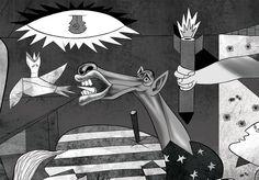 Nenhuma outra pintura moderna representa melhor o absurdo e o sofrimento de uma guerra como Guernica, quadro pintado em 1937 por Pablo Picasso. A tela - um enorme mural com mais de 3 metros de altura por quase 8 metros de comprimento - mostra, através de figuras retorcidas em dor, o caos e a violência de toda a guerra civil espanhola, representada pelo bombardeio da cidade basca de Guernica. As bombas foram jogadas sobre a cidade por aviões nazistas e fascistas, por pedido dos nacionalistas…