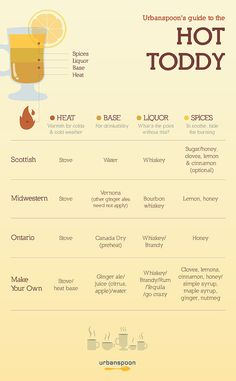 Four types of Hot Toddy. | 17 Booze Charts To Make Everything Easier