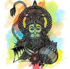 Mandala Art Lesson, Mandala Drawing, Shri Hanuman, Krishna, Hanuman Tattoo, Monkey Tattoos, Hanuman Images, Hanuman Wallpaper, Doodle Art Designs