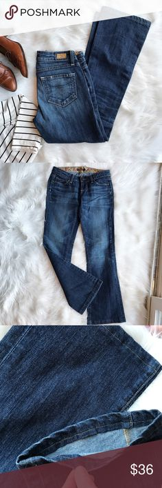 """Paige Jeans Laurel Canyon In excellent used condition. Dark wash with light distressing. 98% cotton, 2% spandex. Color #WA253. Style name Laurel Canyon. (Low rise classic Bootcut fit). Please refer to measurements provided to insure fit as these pants have been professionally hemmed. Waist -15"""", inseam - 29.5"""", rise-7"""". Paige Jeans Jeans Boot Cut"""