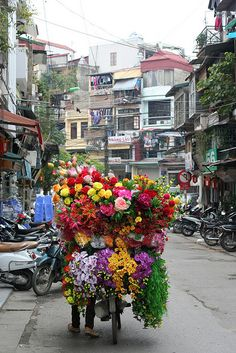 Satin flowers in Hanoi, Vietnam • photo: StandingOnHerToe on Flickr