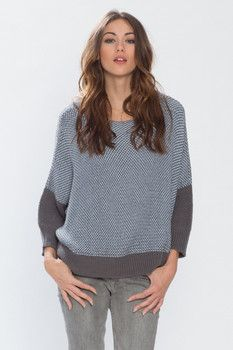 Wooden Ships Cotton Dylan Poncho Sweater in Graphite/Clear Sky
